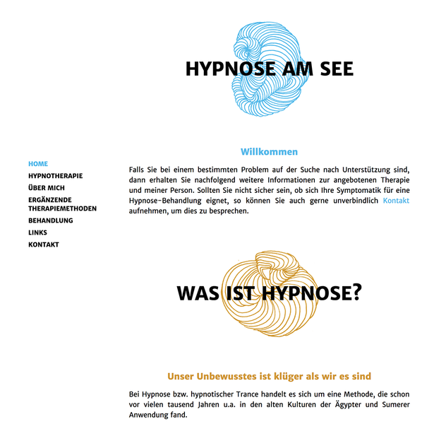 Website Hypnotherapie am See