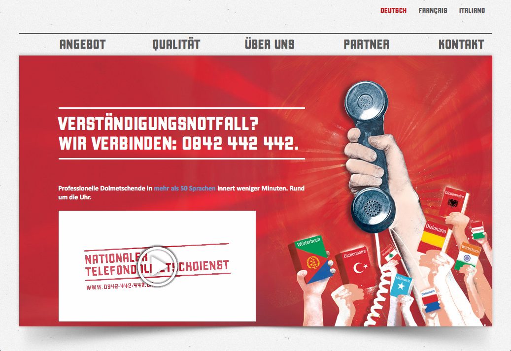 Website Nationaler Telefondolmetschdienst
